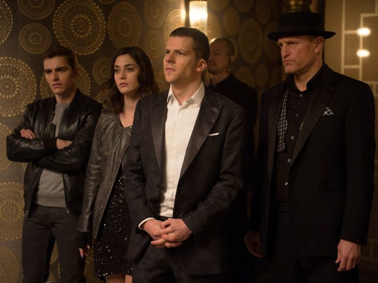"""""""Now You See Me 2"""" (June 10): The Robin Hood-esque magical troupe the Four Horsemen (Dave Franco, Lizzy Caplan, Jesse Eisenberg and Woody Harrelson) are up to old tricks when they're forced into a heist."""