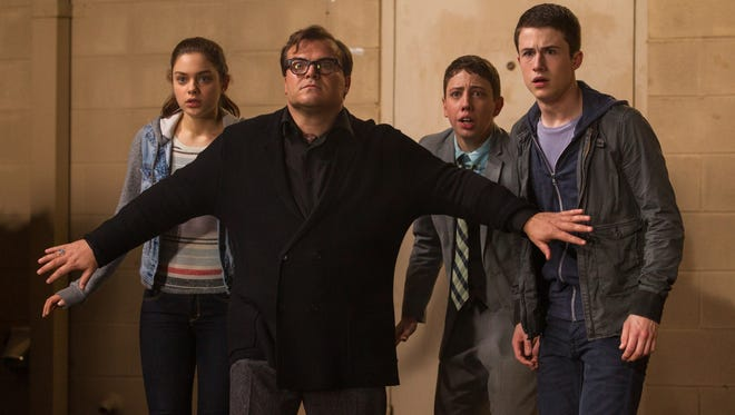 """From left, Odeya Rush, Jack Black, Ryan Lee and Dylan Minnette star in Columbia Pictures' """"Goosebumps."""""""
