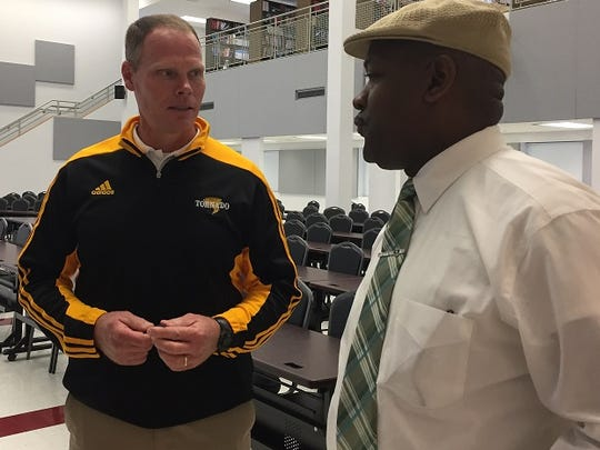 Haynesville coach David Franklin visits with Doyline principal Maz Bursey during the LHSAA meeting. The duo ran track together at Louisiana Tech.
