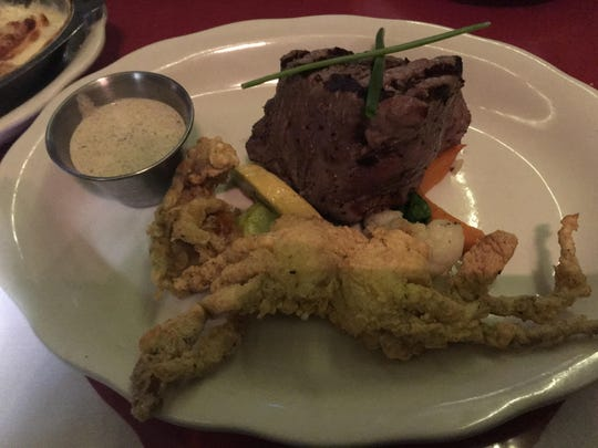 6 oz. filet and soft-shelled crab at The Cub Restaurant.
