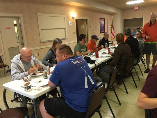 In late August, the V.F.W. Burns Post No. 388 Auxiliary provided a lunch for 18 Wounded Warriors and their volunteers. Each Veteran had three people to help them maneuver the kayaks at Wausau Whitewater Park. Lunch consisted of sub sandwiches, chips and desserts.
