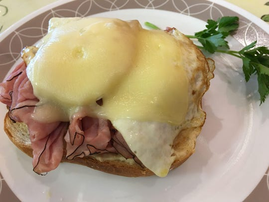 The croque madame at Cafe Monte Carlo in Cape Canaveral included grilled bread, thin-sliced ham, a perfectly fried egg and melted cheese. Delicious.