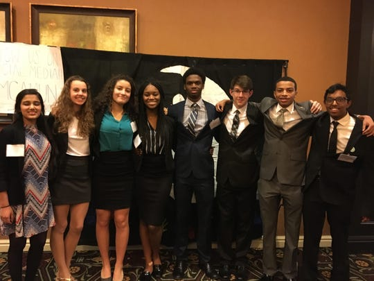 At the Model United Nations at Hershey Lodge are, from left, Newark Charter's Vyshnavi Kosigi, Lily Peterson, Nawel Hamroun, Natalie Nwanekwu, Kyle Lyon, Bryan DelleDonne, Kevin White and Prem Krishnaprasad.