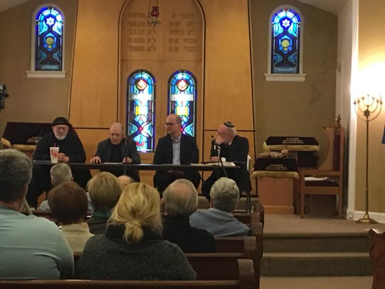 Panelists discuss Christian faith and Jewish faith during a series of discussions at B'Nai Israel.