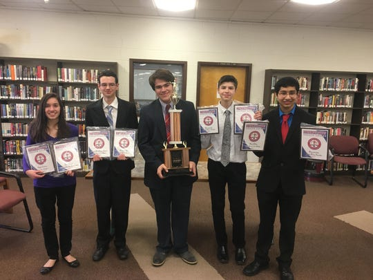 The Roxbury High School Debate Team won the Northwest Debate League Championship. Pictured from left to right are Talia Atanasio, Chris Lange, James Morley, Brody Hageneder and Anavil Patel.