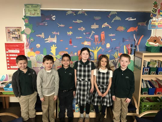 First graders at Hilltop Country Day School who participated in a Knowledge Sharing Exhibition after they learned about Australia.