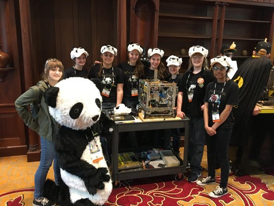 X-Squared Factor, the Padua Robotics team, competed in the World Championships this week in St. Louis, Missouri: Kalani Picho, Tessa Mazzarella, Laura Land, Christa Mumley, Melina Trautman, Tabitha Ciocco, Shalinhi Sivaram, Sara Stoupa and Robin Land.