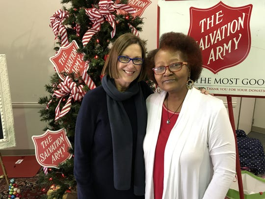 Ginger Clarke, of Clarkes Jewelers in Shreveport, presented longtime Salvation Army volunteer Lula Montgomery with an Armenta necklace.