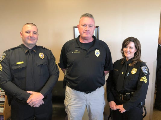 Left to Right - Sgt. Vince Brown, Chief Shane McWilliams and Sgt. Tifani Bri