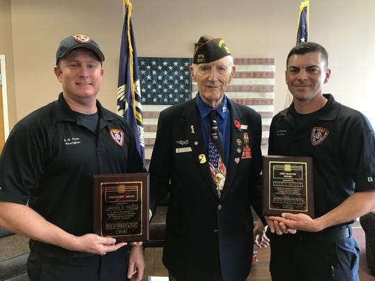 Ashton Poole, of BCFD, Ken Koval, past commander of Louisiana VFW and Post 5951, and Joseph Brickner, of BCFD.