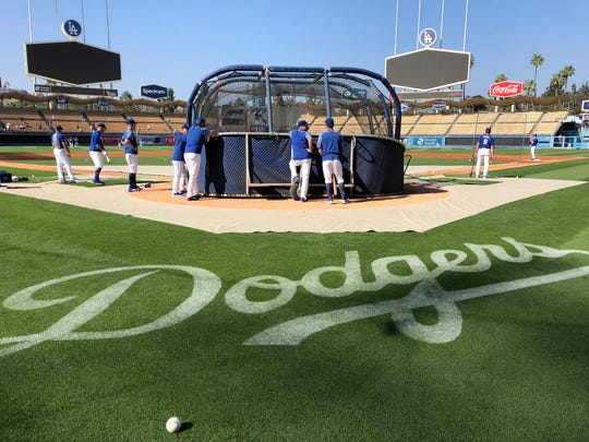 May 9, 2018; Los Angeles, CA, USA; General overall view of batting practice before a MLB baseball game between the Arizona Diamondbacks and the Los Angeles Dodgers at Dodger Stadium. Mandatory Credit: Kirby Lee-USA TODAY Sports ORG XMIT: USATSI-375202 ORIG FILE ID:  20180509_gav_al2_069.jpg