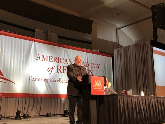 Jim Wallis speaks at the American Academy of Religion annual conference on Nov. 18, 2018, in Denver.