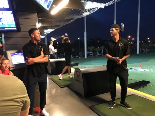 Detroit Tigers center fielder JaCoby Jones, left, and closer Shane Greene were among the players gathered at TopGolf, on the outskirts of Tampa, to help raise money for pitcher Matthew Boyd's charity, Kingdom Home, on March 16. Boyd is planning a second TopGolf fundraiser on May 20 in Auburn Hills.