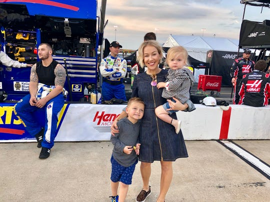 Lorra Bowyer with Cash and Presley, on a better day, at Richmond Raceway in 2019. (Michelle Martinelli)