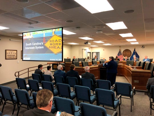 South Carolina Department of Transportation Secretary Christy Hall presents her agency's plans to widen several interstates to a group of state senators Wednesday in Columbia, S.C.