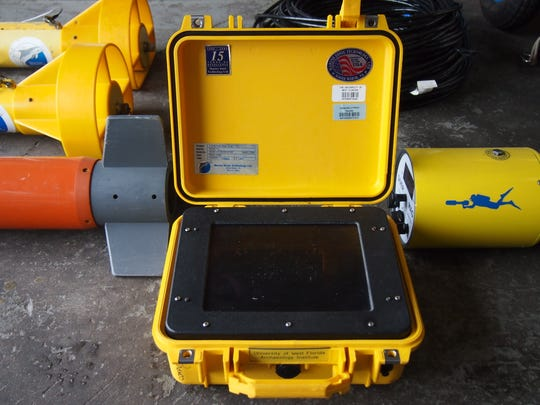 University of West Florida sonar equipment used to help locate wreckage from a downed military helicopter.