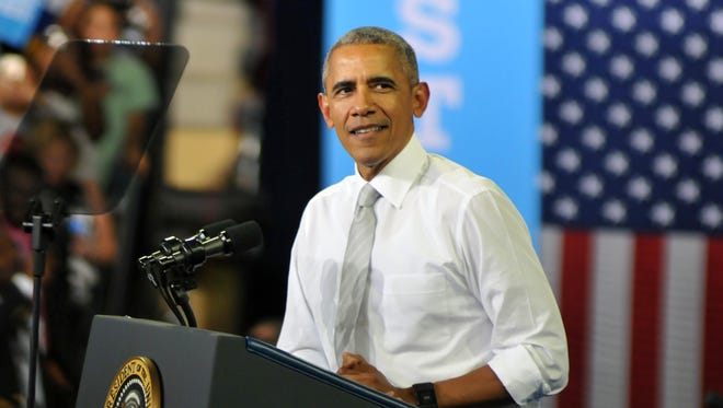 President Barack Obama spoke to thousands at the University of Central Florida CFE Arena in support of Hillary Clinton.