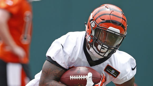 Cincinnati Bengals Jeremy Hill, 32, runs the ball during mini-camp held at Paul Brown Stadium.