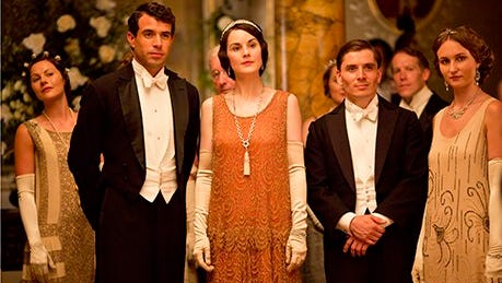 """The frocks were festive for the   """"Downton Abbey"""" Christmas special in 2013."""