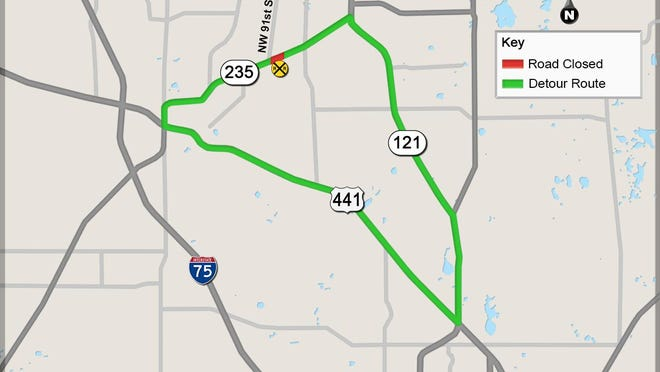 State Road 235 will close between U.S. 441 and State Road 121 between 5 a.m. Friday and 8 p.m. on Sunday so construction crews can install new safety features at the railroad crossing.