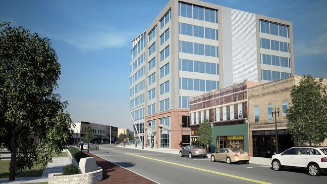 A view of the proposed eight-story tower looking east from Main Street.