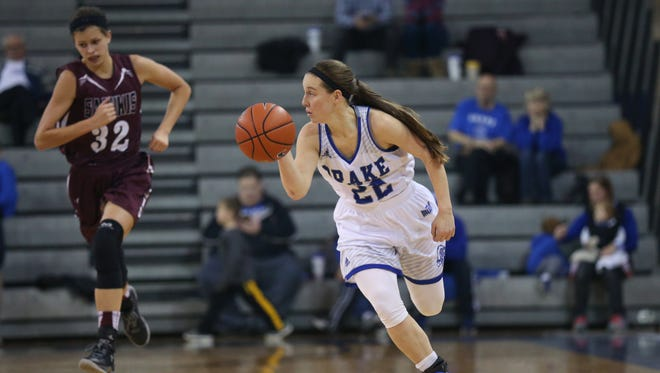 Drake's Caitlin Ingle brings the ball down the court during the Drake women's basketball game against Southern Illinois University on Sunday, Jan. 8, 2017, in the Knapp Center.