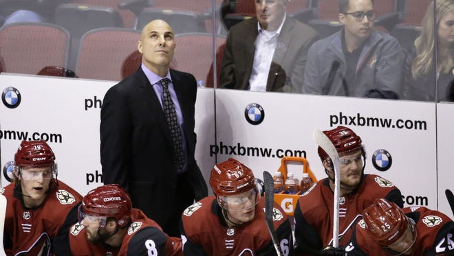 Arizona Coyotes head coach Rick Tocchet reacts after the Dallas Stars scored a goal in the 1st period on Oct. 19, 2017 at Gila River Arena in Glendale, Ariz.