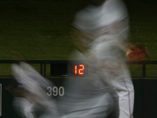 A pitch clock, such was one seen here during a Fall League game at Salt River fields on 2014, is Major League Baseball's primary effort to speed up game. It is not popular with Diamondbacks veterans.