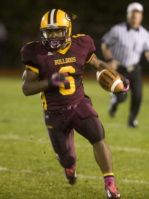 Corey Clement runs the ball for Glassboro High School against Highland in 2012. Clement, one of the Eagles running backs, will play in the Super Bowl on Sunday.