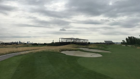 Construction is in progress on the 13th hole of Liberty National, where the Presidents Cup will be played in September and October.