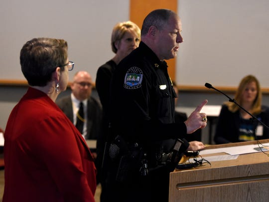 KPD Chief David Rausch answers questions during the presentation of a report by the Naloxone Community Collaborative analyzing naloxone deployment by first responders in Knoxville and Knox County on Thursday, Jan. 25, 2018.