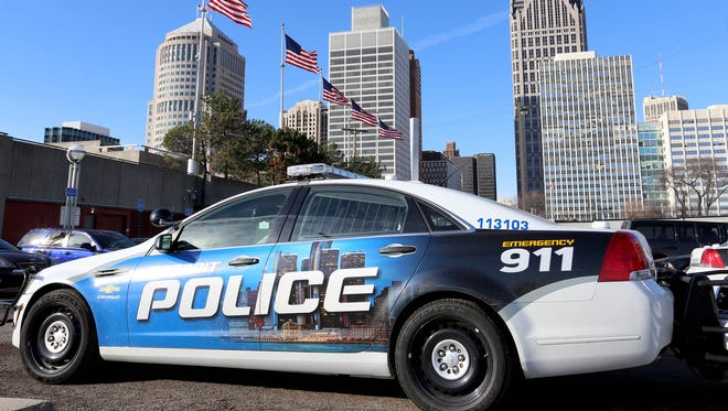 A Detroit Police car in downtown Detroit.