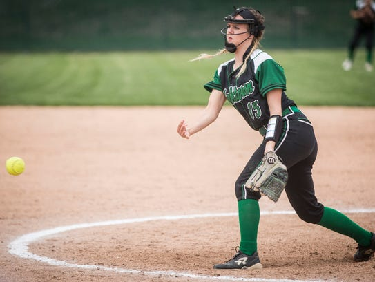 Yorktown's Kaylyn Coahran pitches the ball during the