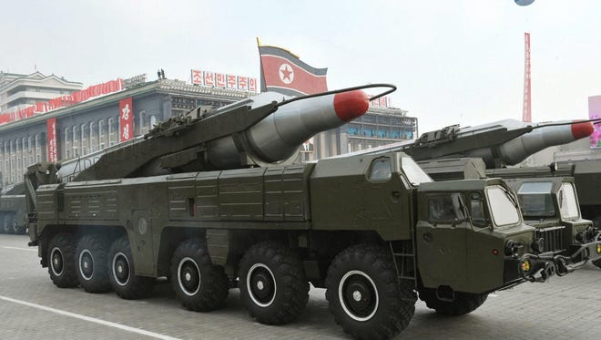 A file photo dated October 2010 and made available by the North Korean Central News Agency (KCNA) shows a 'Musudan' missile displayed during a military parade.