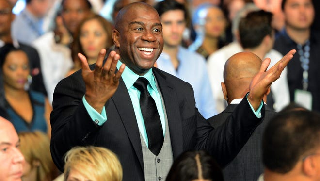 Magic Johnson attended the Floyd Mayweather Jr.-Saul Alvarez fight recently.