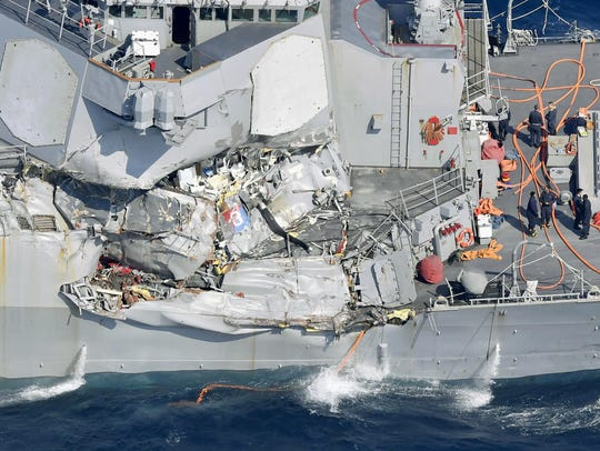 The damaged USS Fitzgerald is pictured off Shimoda,