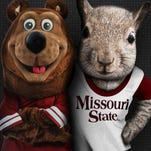 Missouri State University posted this photo of Boomer, on the left, and a proposed new mascot, a squirrel named Scrapper.