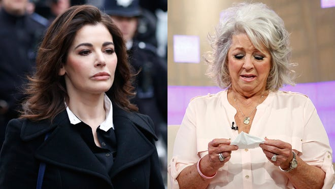 """Nigella Lawson as she arrives at Isleworth Crown Court in London, left, and Paula Deen crying on NBC News' """"Today"""" show in New York."""