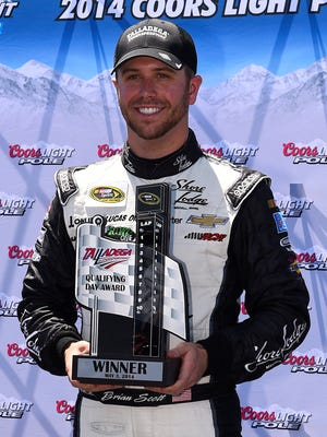 Brian Scott qualified first for the Sprint Cup race at Talladega Superspeedway on May 3. It was his first career Cup pole.