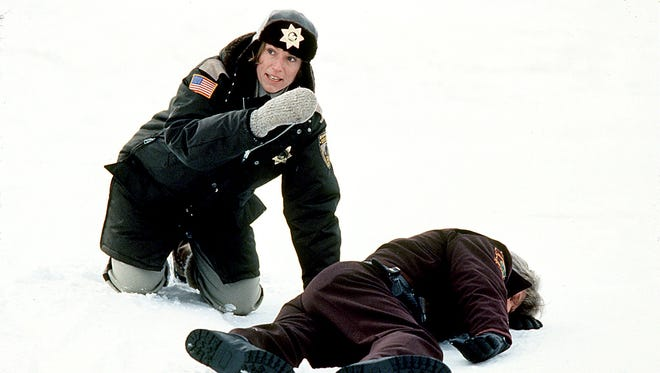 "A pregnant Minnesota police chief (Frances McDormand) finds a dead body in ""Fargo."""