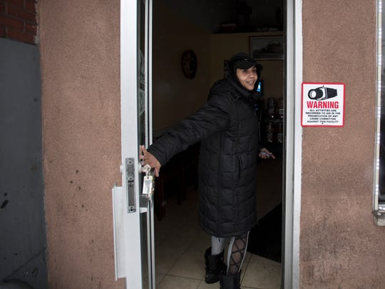 Lisa Martinez, a taxi dispatcher at Passaic Professional, before closing up early on Wednesday, March 7, 2018.