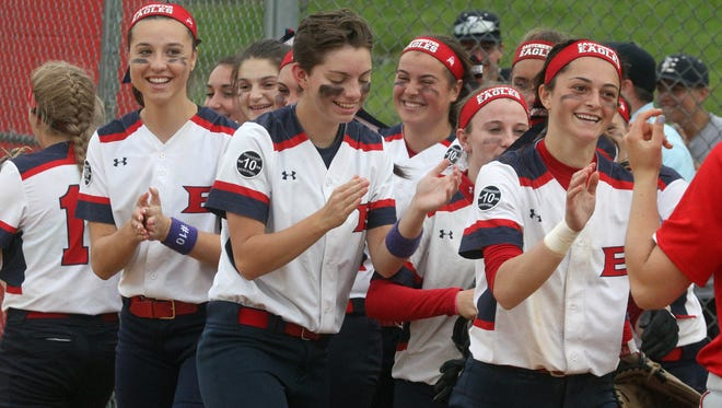 Eastchester players celebrate their 3-2 win in a Section 1 Class A softball quarterfinal at Tappan Zee May 23, 2017.
