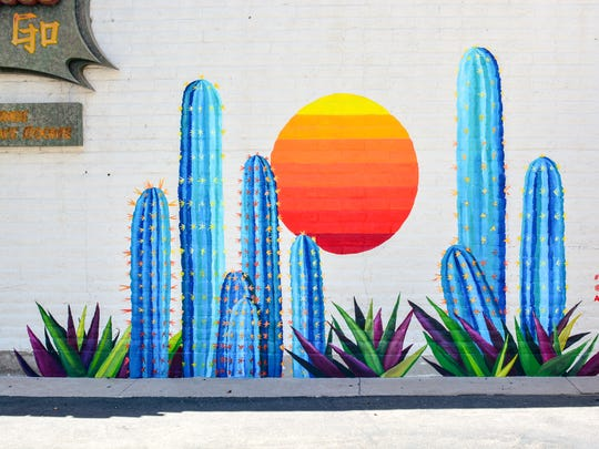 Phoenix-area arist Lauren Lee, who is well-known for her colorful murals around the Valley, painted this mural at Geisha A Go Go. Experience Scottsdale commissioned three murals from Lee as part of their summer marketing campaign.