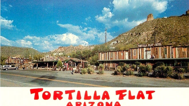 By the early 1960s when this postcard photo was sold, Tortilla Flat had grown from a turn-of the-century stage stop and supply point along the Apache Trail into a popular tourist stop offering food, lodging curios and other services.