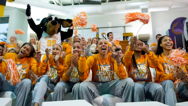 Tennessee players celebrate on Monday night as they receive a No. 1 seed in the women's NCAA tournament. They open up against Northwestern State.
