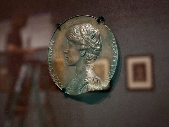 A bronze medallion of Marie Spartali Stillman by artist Maria Zambaco. Poetry in Beauty: The Pre-Raphaelite Art of Marie Spartali Stillman is a new exhibition at Delaware Art Museum that will run from November 7 - January 31, 2016.