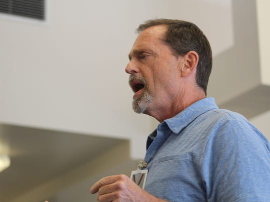 Clem Pellett makes a statement to the Montana Parole