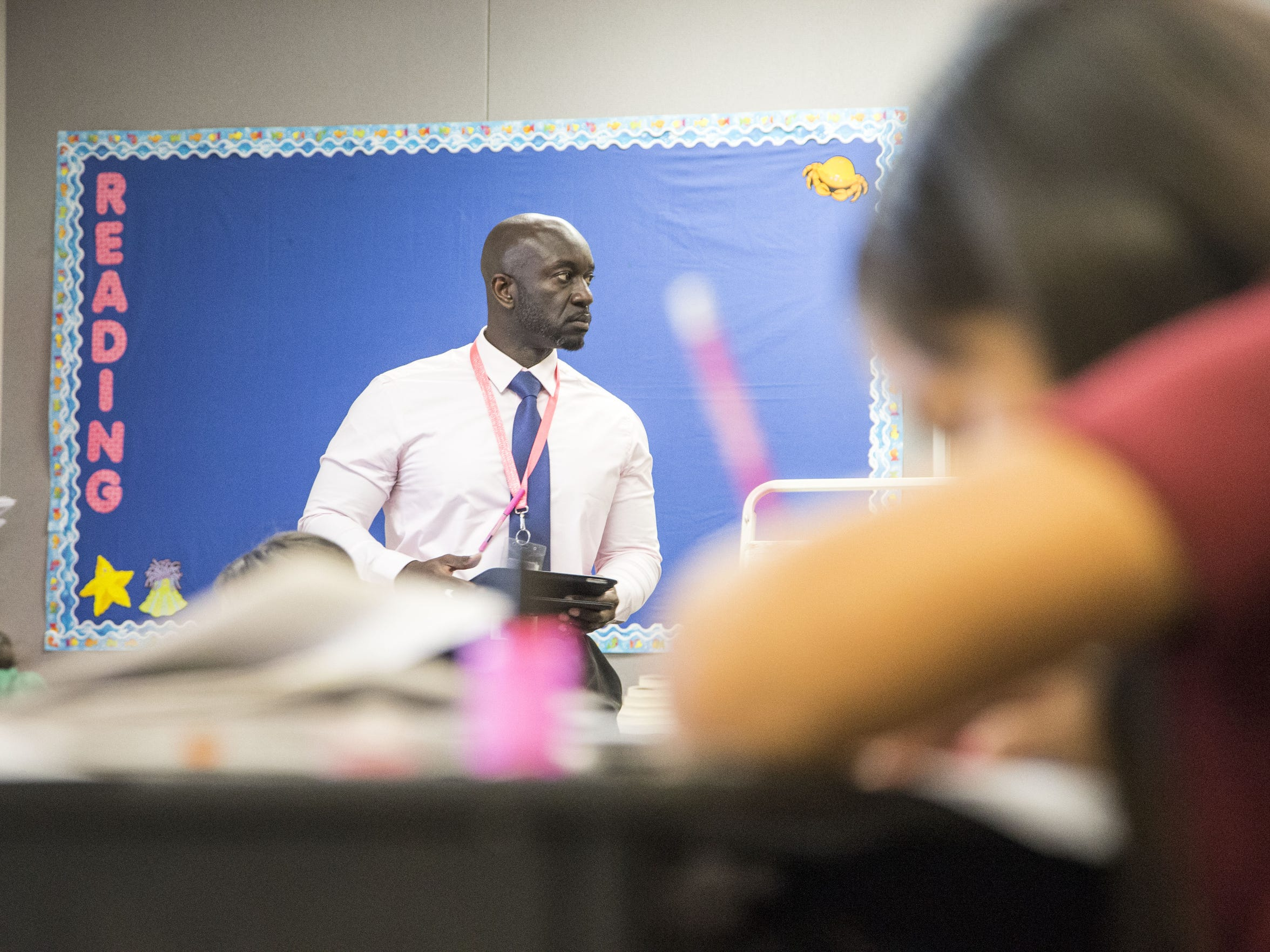 """Principal Eric Atuahene spent last school year working with teachers to solve problems at Quentin through """"collaboration,"""" one of the Beat the Odds program's six principles."""