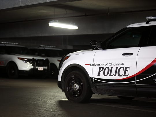 UCPD cars are parked outside the station in the Corry Garage on the University of Cincinnati campus.