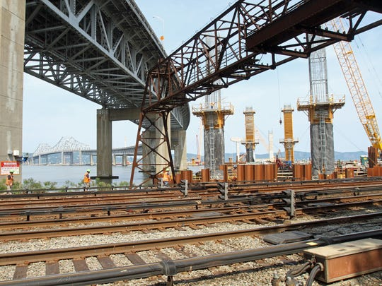 This June 2015 photo shows how close Tappan Zee Bridge construction is to Metro-North's Hudson Line. Girders will be installed over the tracks.